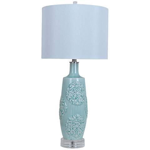 Crestview Collection Fiori Blue Ceramic Table Lamp