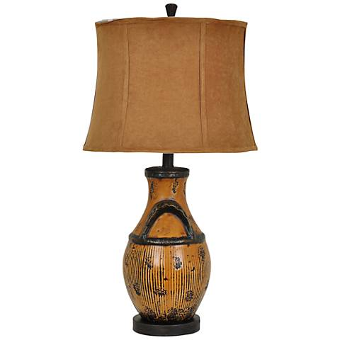 Crestview Collection Peyton Rustic Amber Ceramic Table Lamp