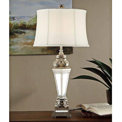 Crestview Collection Jaunty Silver Mirror Table Lamp