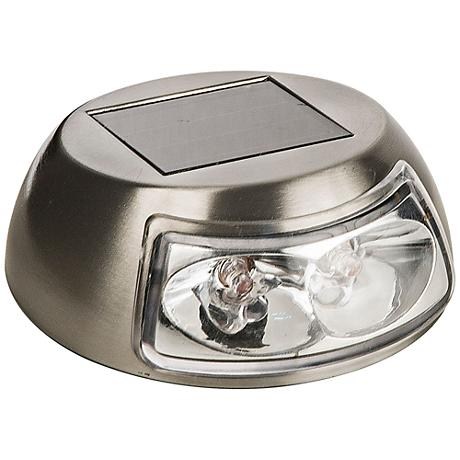 """Marlow 3 1/2"""" Wide Stainless Steel Mini Solar LED Deck Light"""