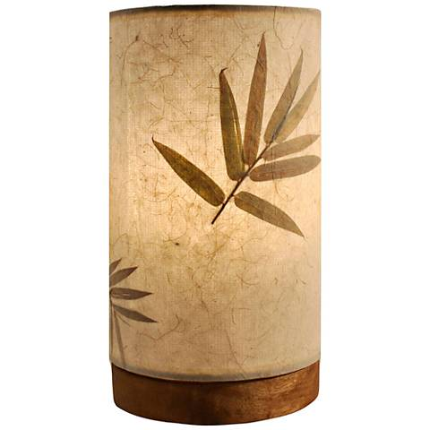 "Eangee 9""H Paper Cylinder Bamboo Mini Accent Table Lamp"