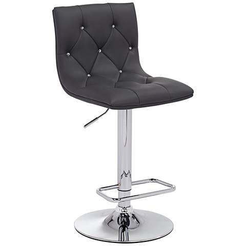 Eveline Gray Leatherette Adjustable Barstool