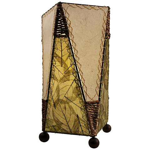 Eangee Trapezoid Green Hand-Made Paper Accent Table Lamp