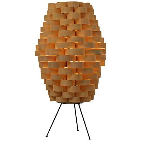Eangee Tall Slat Natural Bamboo Weave Table Lamp