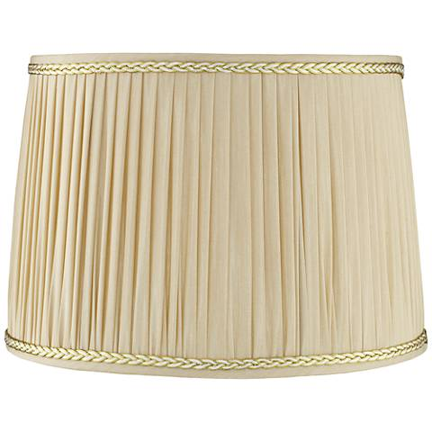 Pleated Cream Shade with Silver Trim 15x16.5x11.5 (Spider)