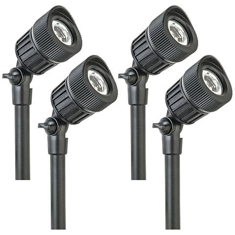 "Gregory 6""H Black Low Voltage 4-Pack Micro LED Spot Light"