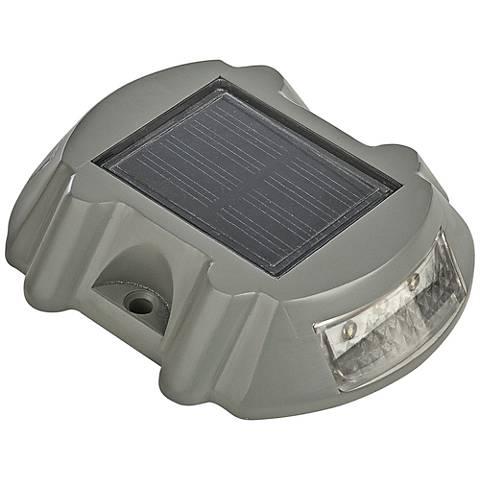 "Trask 4"" Wide Gray Cast Aluminum Solar LED Deck Marker"