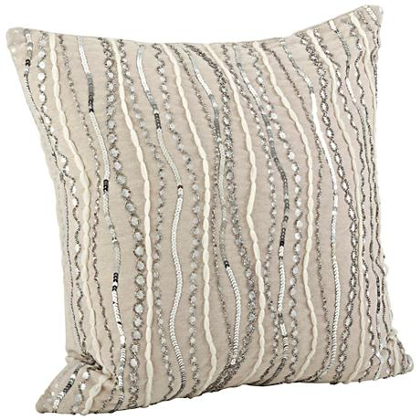 """Stella Cotton Chambray 18"""" Square Silver Beaded Pillow"""