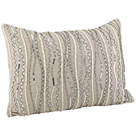 "Stella Cotton Chambray 20""x14"" Silver Beaded Pillow"