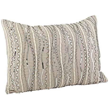 "Stella Cotton Chambray 20""x14"" Silver Beaded Pillow"