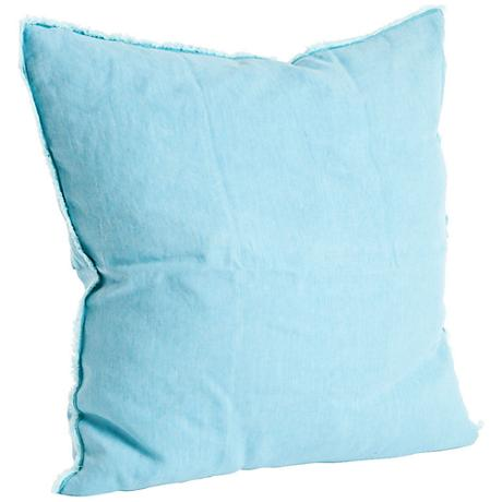 "Graciella Turquoise Blue 20"" Square Stone Washed Pillow"