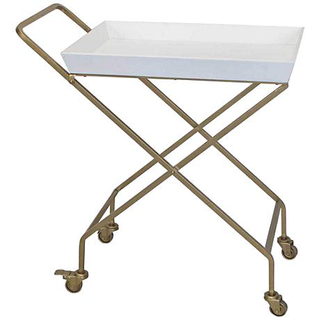 Ella Gold Metal and White Lacquer Top Rolling Serving Cart