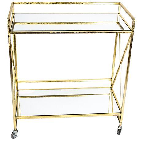 Stanya Gold Metal 2-Shelf Bar Cart with Mirror