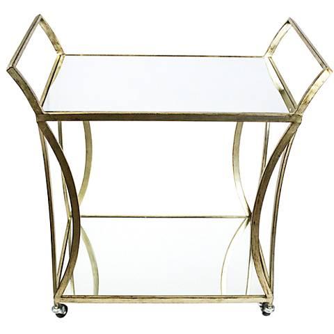 Swan Gold Metal 2-Shelf Bar Cart with Mirror