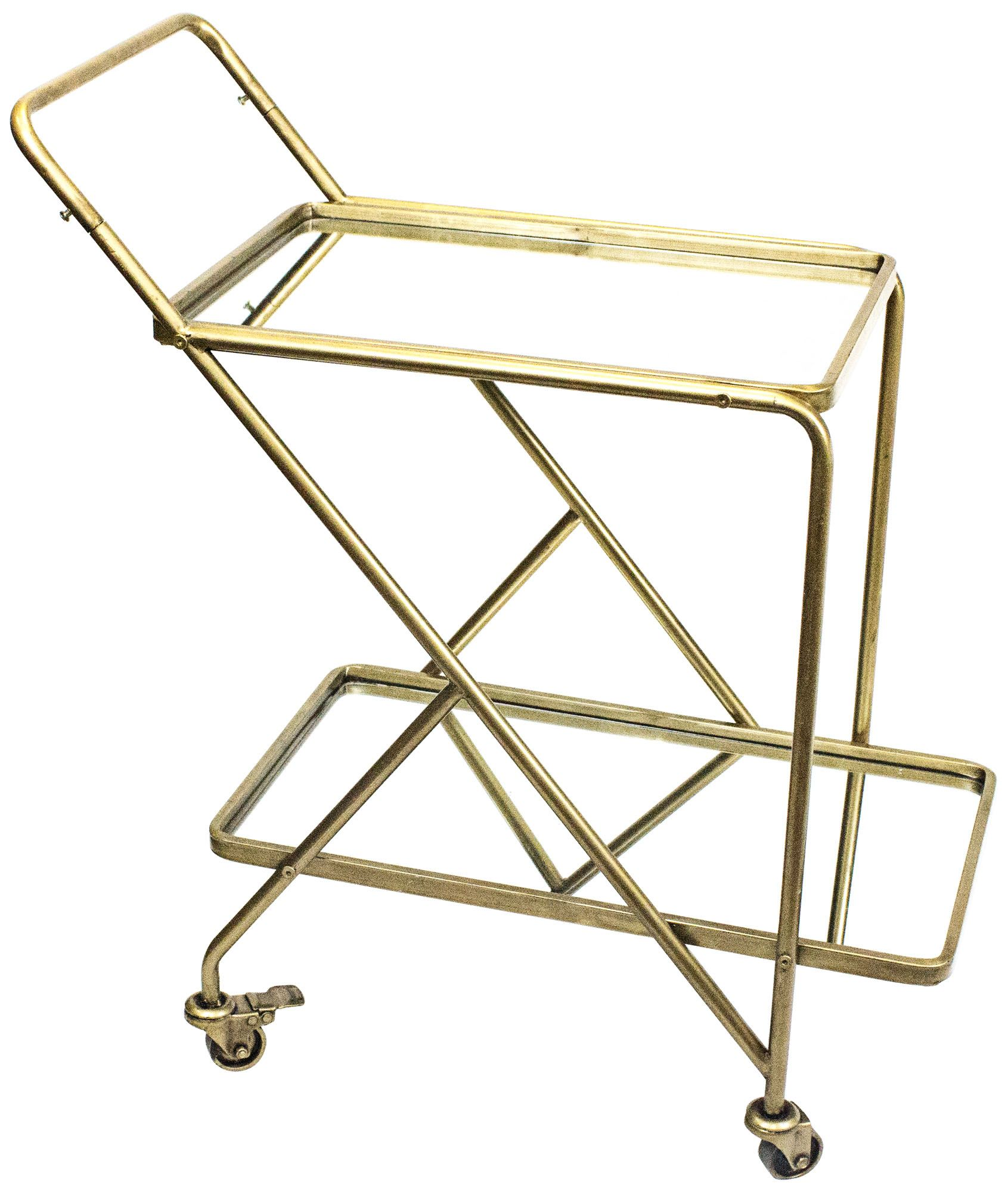 vera gold iron and mirrored 2shelf rolling serving cart