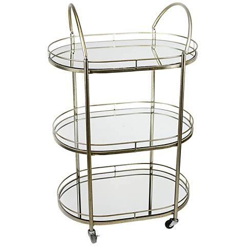 Lana Silver Iron and Mirrored 3-Tier Bar Cart