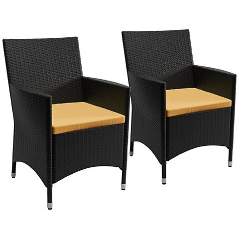Cascade Charcoal Wicker Cushioned Patio Armchair Set of 2