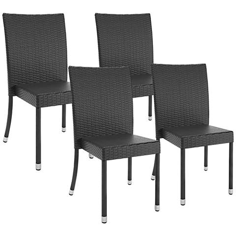 Park Terrace Charcoal Weave Patio Dining Chair Set of 4