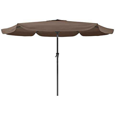 Hoba 9 3/4-Foot Sandy Brown Fabric Tilting Patio Umbrella
