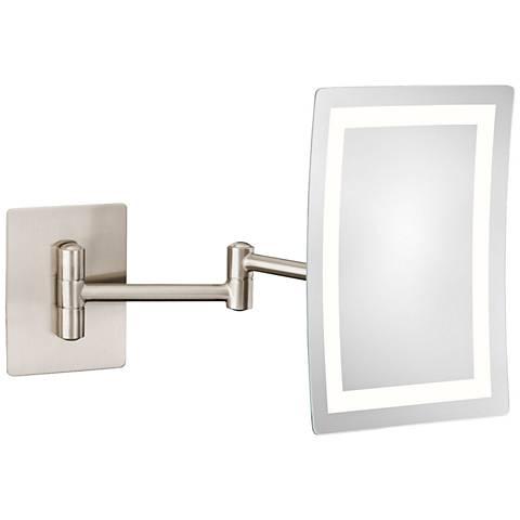 Aptations Brushed Nickel LED 3X Rectangular Makeup Mirror