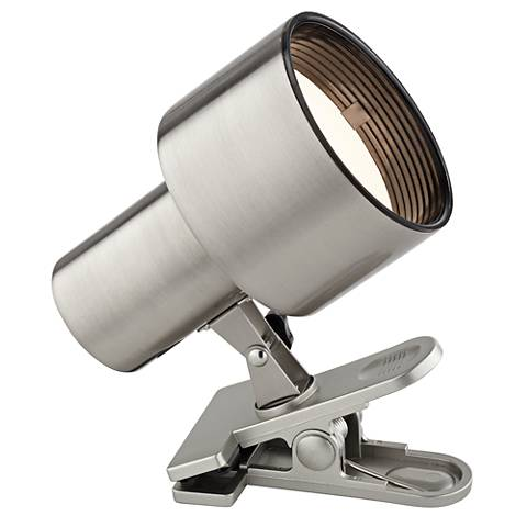 Satin Nickel Mini Accent Clip Light with LED Bulb