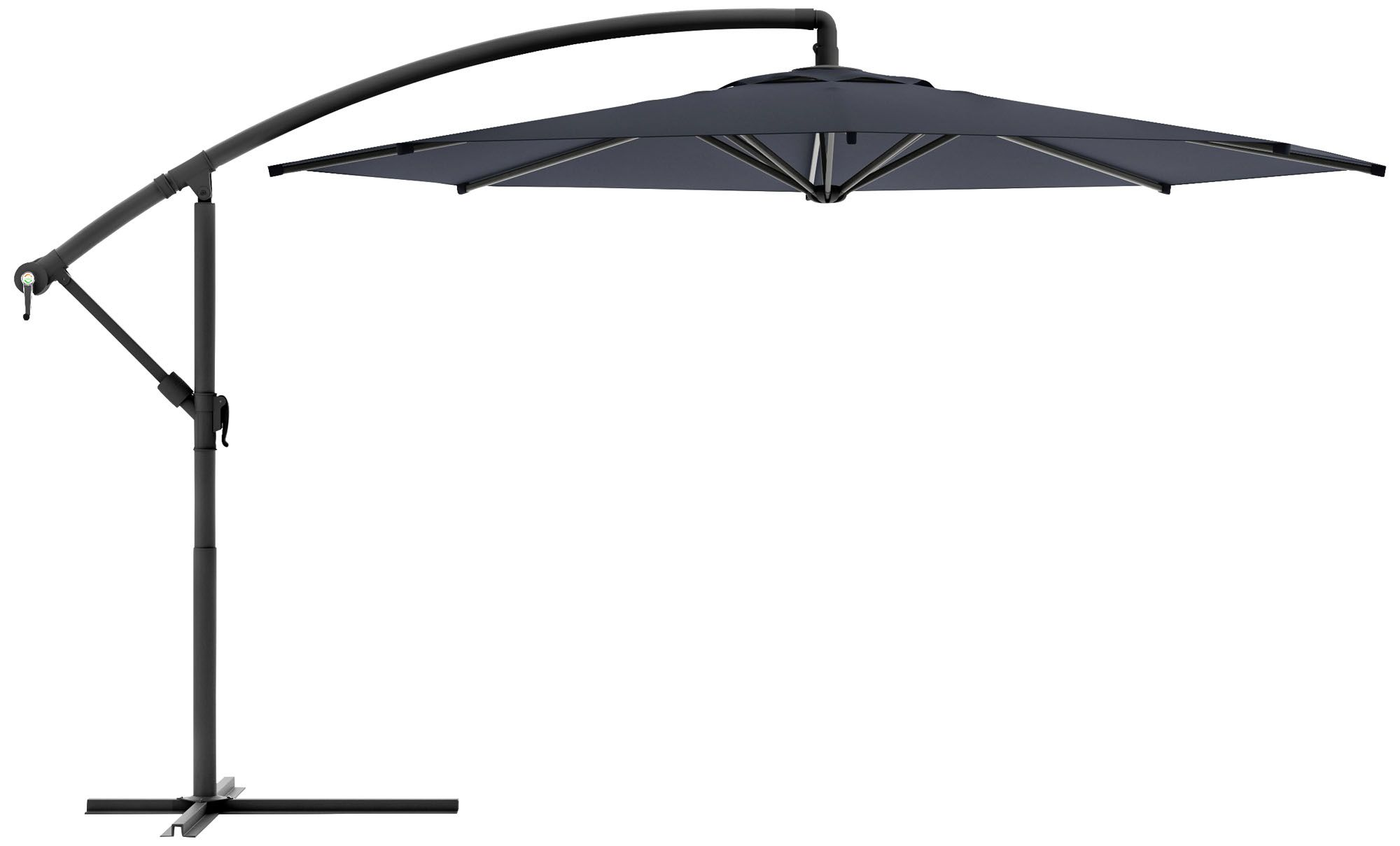 Amazing Meco 9 3/4 Foot Black Fabric Offset Patio Umbrella