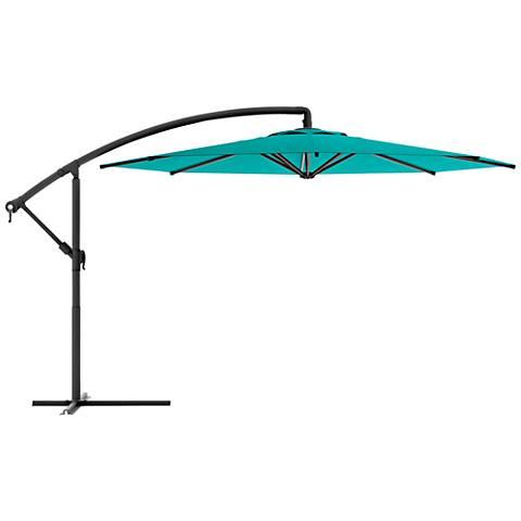 Meco 9 3/4-Foot Turquoise Blue Fabric Offset Patio Umbrella