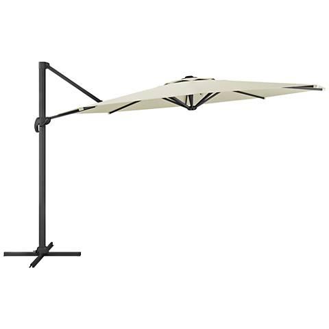 Tava 11 1/3-Foot Warm White Deluxe Offset Patio Umbrella