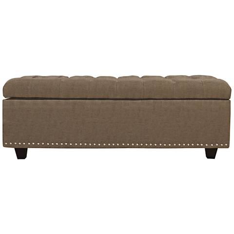 Flair Beige Fabric Tufted Storage Ottoman