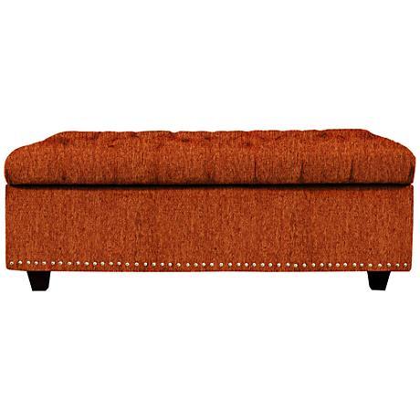 Flair Terracotta Fabric Tufted Storage Ottoman