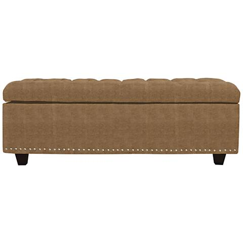 Flair Saddle Fabric Tufted Storage Ottoman