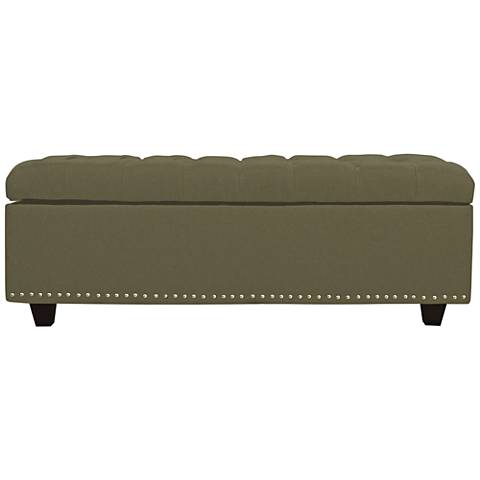 Grant Sage Fabric Tufted Storage Ottoman
