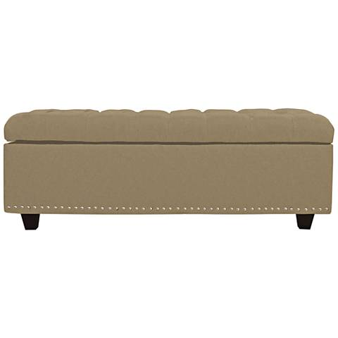 Grant Taupe Fabric Tufted Storage Ottoman