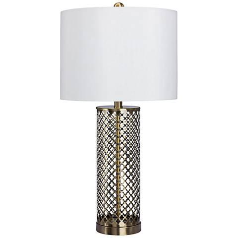 Sibara Antique Brass Openwork Metal Table Lamp