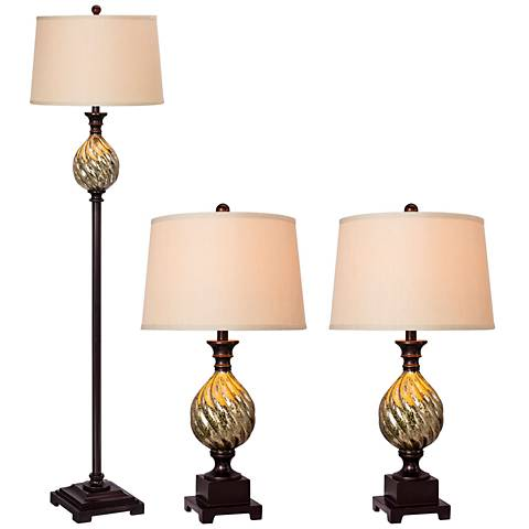 La Villa Old English Bronze 3-Piece Floor and Table Lamp Set