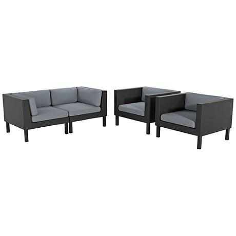 Oakland Black Weave 4-Pc Gray Cushion Patio Seating Set
