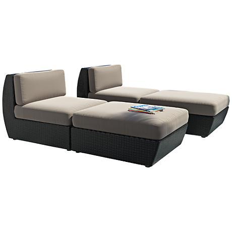 Seattle Black Weave Gray Cushion 4-Piece Patio Lounge Set