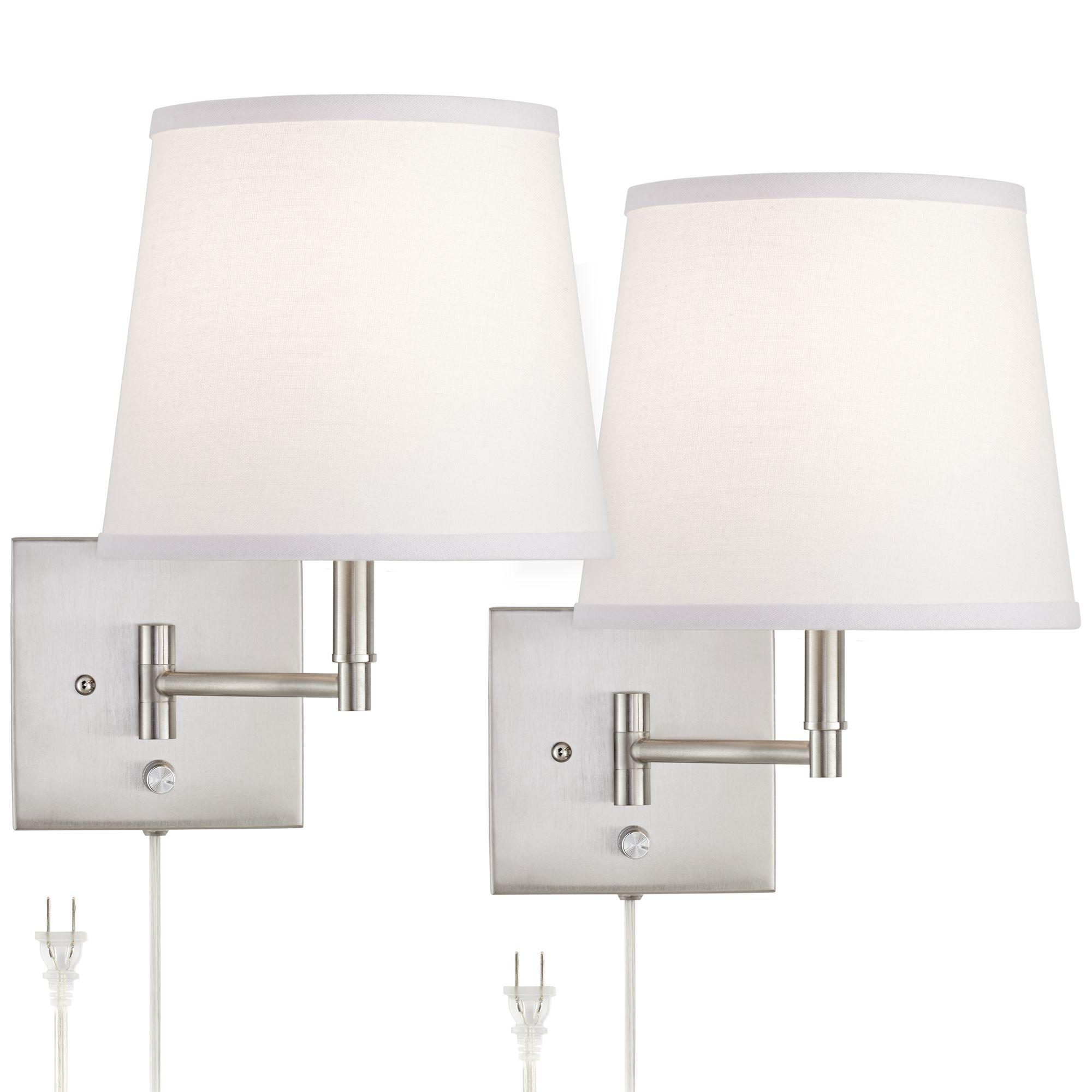 lanett brushed nickel swing arm plugin wall lamp set of 2