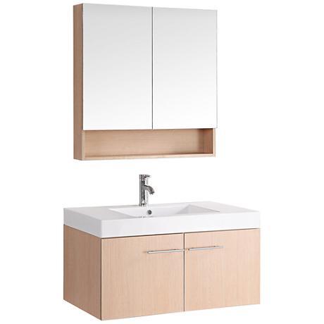Bosconi Light Pine Wood Single-Sink Floating Vanity Set