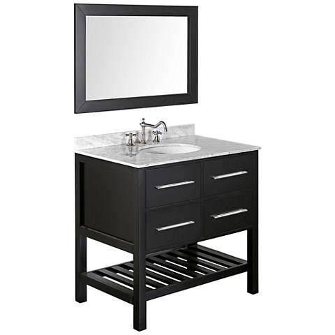 "Bosconi 35 1/2"" Black Single-Sink Vanity Set w/ Mirror"