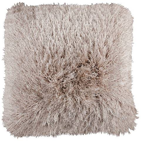 "Dallas Beige 20"" Square Decorative Shag Pillow"