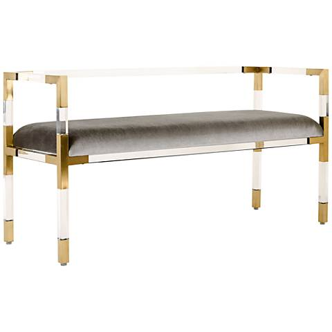 Anastasia Brass Steel Cushioned Rectangular Bench