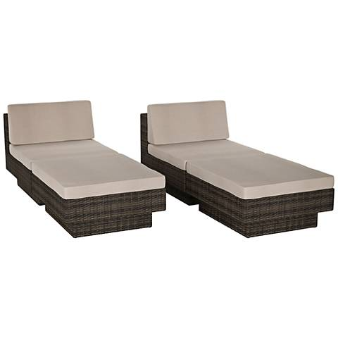Park Terrace Black Weave 4-Piece Coral Patio Lounge Set