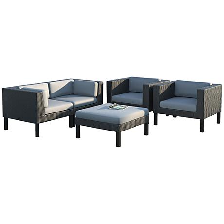 Oakland Black Weave 5-Pc Gray Patio Armchair Seating Set