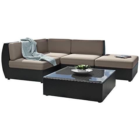 Seattle Black Weave 5-Pc 4-Seat Modular Patio Lounge Set