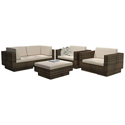 Park Terrace Saddle Strap Weave 5-Pc Patio Armchair Set