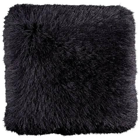 """Dallas Black 20"""" Square Decorative Shag Pillow"""