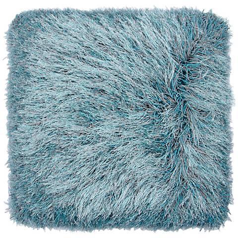 """Dallas Gray-Turquoise 20"""" Square Decorative Shag Pillow"""