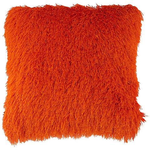 "Dallas Orange 20"" Square Decorative Shag Pillow"