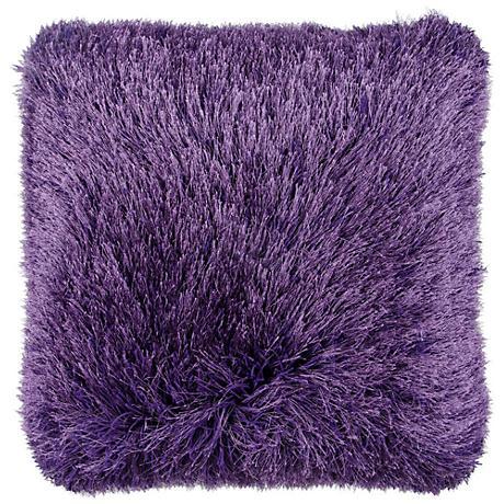"""Dallas Purple 20"""" Square Decorative Shag Pillow"""